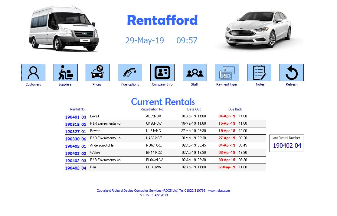 Rentafford car rental system